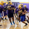 Troy High School football players work inside during high school football practice due to heat index Wednesday, September 11, 2013 in Troy, N.Y.. (J.S.CARRAS/THE RECORD)