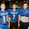LaSalle defensive players (l-r) Christian Apicella, sr., lb, Seamus Kelley, sr., lb, and Bailey Haskin, jr., lb. during high school football practice indoors because of heat index Wednesday, September 11, 2013 in Troy, N.Y.. (J.S.CARRAS/THE RECORD)