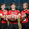J.S.CARRAS/THE RECORD (l-r) Jessie Maynard, holder, Andrew Franks, kicker, Jim Krecek, center, for Rensselaer Polytechnic Institute football team Wednesday, September 18, 2013 at East Campus Stadium in Troy, N.Y..
