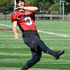 J.S.CARRAS/THE RECORD Andrew Franks, kicker for Rensselaer Polytechnic Institute football team practices Wednesday, September 18, 2013 at East Campus Stadium in Troy, N.Y..