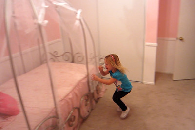 Ashley running to her new bed!