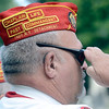 Bill Girard, a member of Marine Corp League Troy Detachment salutes the playing of TAPS during 55th Memorial Anniversary honoring Uncle Sam Wilson of Troy, N.Y., Saturday, September 14, 2013 in Oakwood Cemetery in Troy, N.Y.. (J.S.CARRAS/THE RECORD)