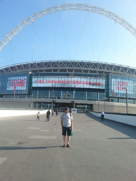 England's No 1 fan at Wembley before the Norway friendly.