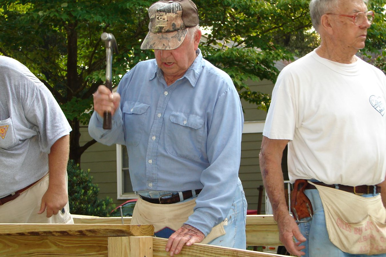 Senior Corps members with the Veterans Ramp Crew of the Sowega Council on Aging Retired and Senior Volunteer Program in Albany, Georgia work on a new ramp.
