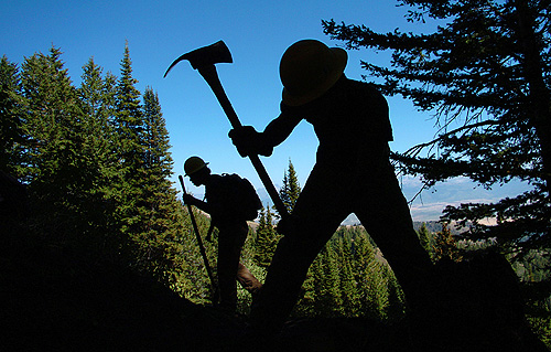 """This Mark Genito photo titled """"Trail Work"""" claimed third place in the 2009 AmeriCorps Photo Contest."""