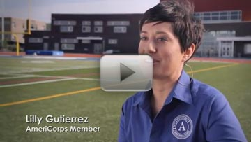 AmeriCorps member Lilly Guiterriez serves in the Urban Education Service Corps in Denver, CO. Click the photo to watch a video about how national service works for education.