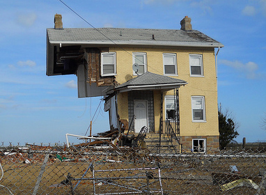 This photo from AmeriCorps NCCC Team Delta 10 shows half of a house torn away by Hurricane Sandy in Union Beach, NJ.