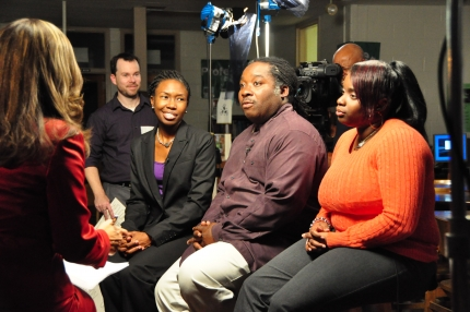 """Rhonda Ulmer, left, discusses University for Parents during the """"No Textbook Answer"""" documentary on Maryland Public Television with parent Brian Tucker Sr. and Meade High School Senior Charnele Thomas."""