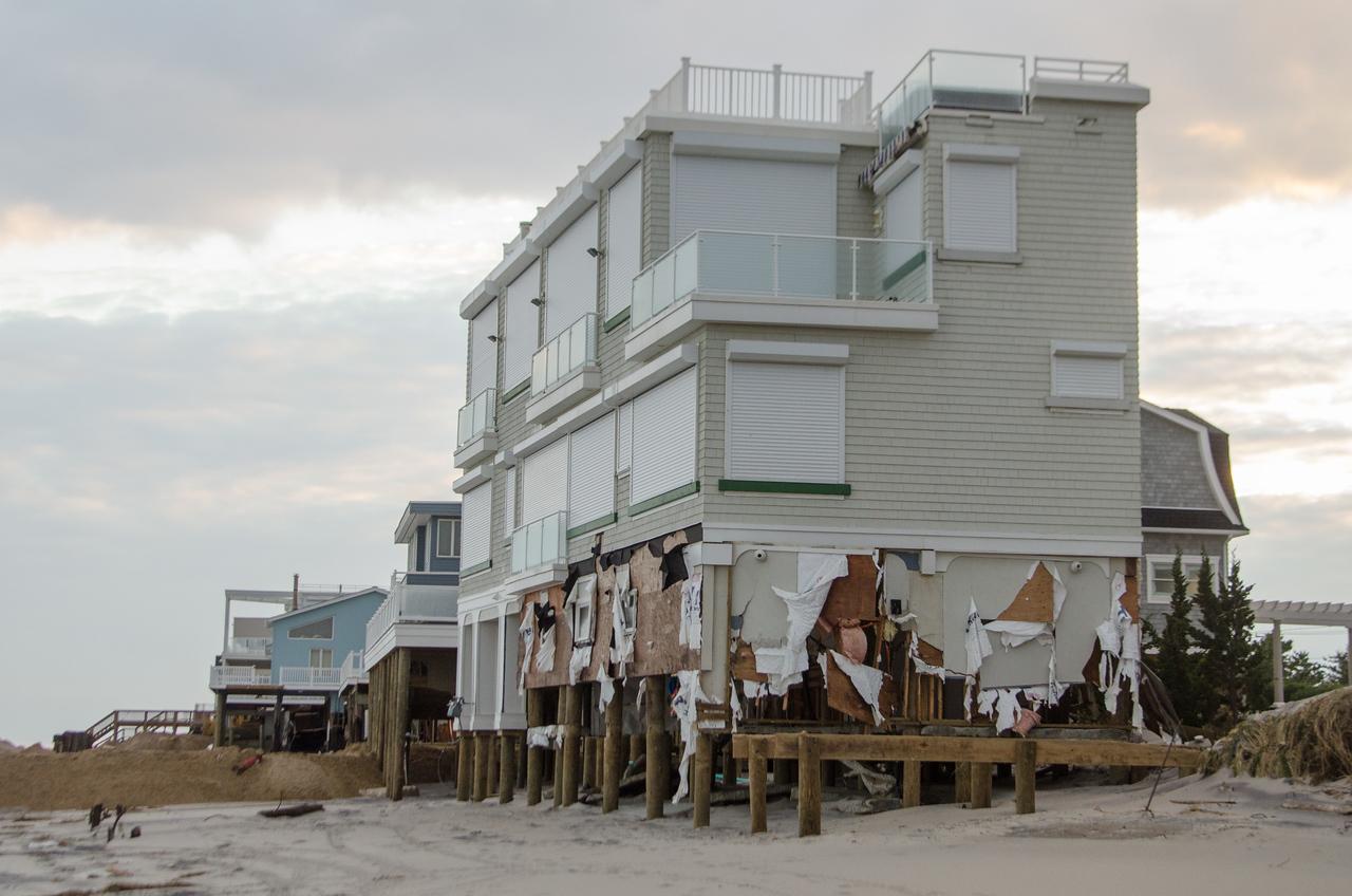 Long Beach Island, NJ, 11/2/12 --  Hurricane Sandy moved sand off the beach and ocean water undermined beachfront properties. Photo by Liz Roll/FEMA