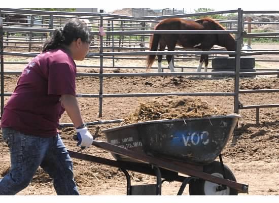11th grader Janeth Mendoza helps clean up at The Urban Farm with Volunteers of Outdoor Colorado.