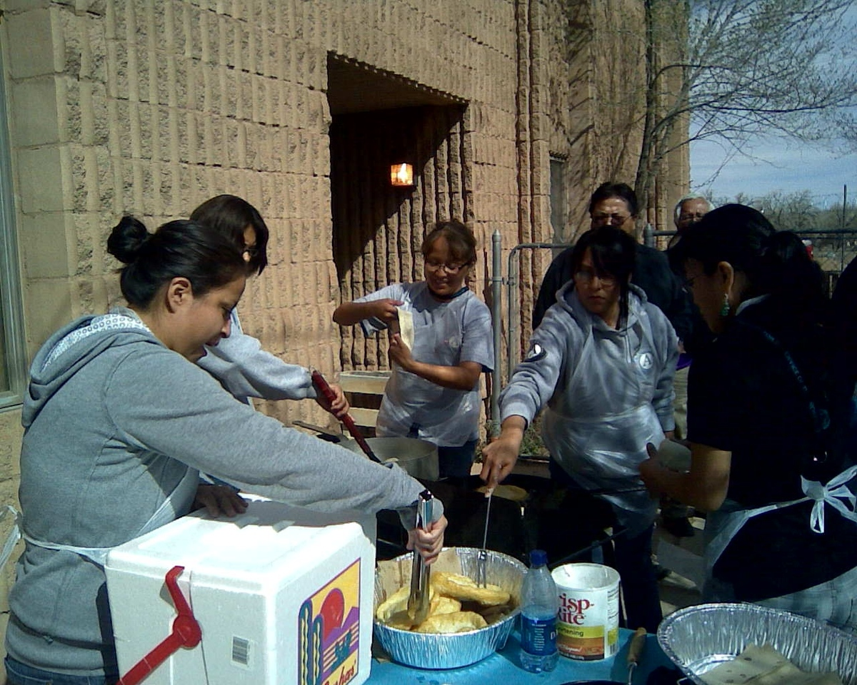 Participants in the Rough Rock AmeriCorps program feed the community on a day of service.