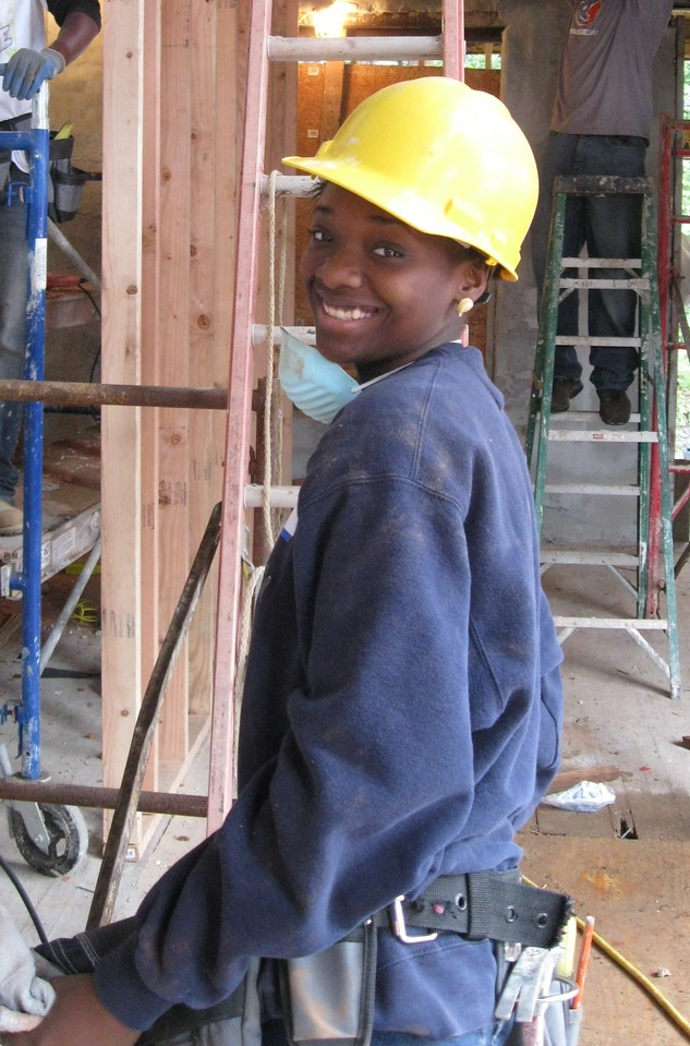 Ciera Russum, a member of the Advanced Construction team at YouthBuild Philadelphia Charter School.
