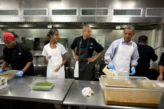 President Barack Obama and daughter Malia Obama participate in a service project to commemorate the September 11th National Day of Service and Remembrance at DC Central Kitchen near the U.S. Capitol in Washington, D.C., Sept. 10, 2011. (Official White House Photo by Pete Souza)