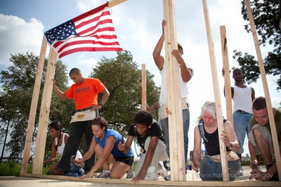 Volunteers help rebuild homes on the fifth anniversary of Hurricane Katrina. (Corporation for National and Community Service photo)