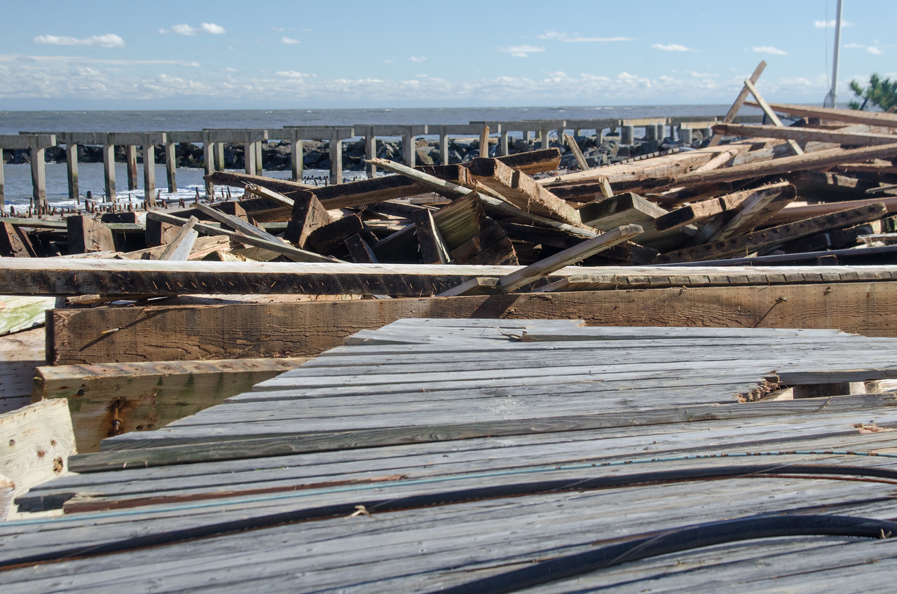 The historic boardwalk in Atlantic City, NJ, was destroyed by fierce winds that hit during Hurricane Sandy. (Photo by Liz Roll/FEMA)