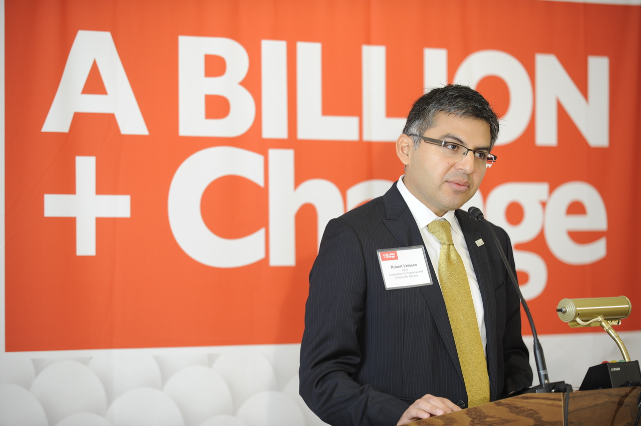 Acting CEO of the Corporation for National and Community Service, Robert Velasco II, speaks at the launch of A Billion + Change, a national campaign to mobilize $1 billion of pro bono and skills-based service resources by 2013, at a ceremony on Capitol Hill on Thursday, Nov. 3, 2011 in Washington.  (Kevin Wolf/AP Images for A Billion + Change)