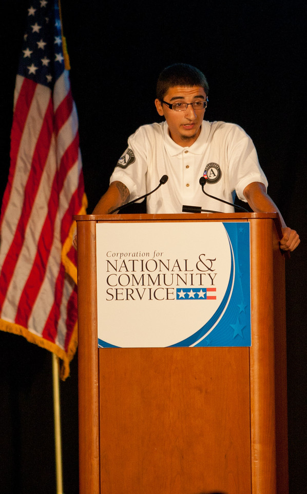 Chris Guzman speaks during the National Conference on Volunteering and Service in Washington, DC, on June 20, 2013. (Corporation for National and Community Service Photo)