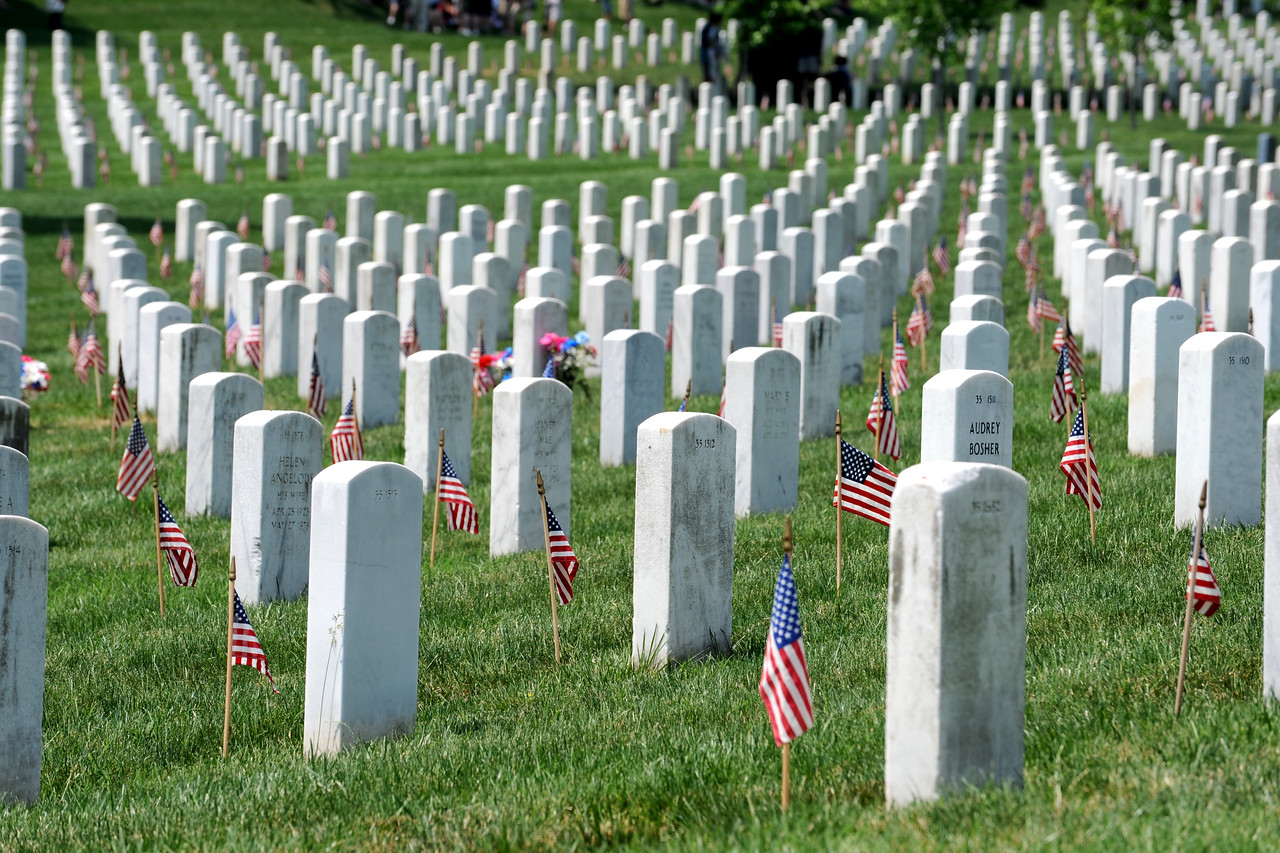 Graves at Arlington National Cemetery, Arlington, Virginia, each decorated with a small American Flag in observance of Memorial Day, May 31, 2010.  DoD photo by R. D. Ward  (Released)
