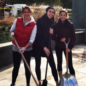 Three Community HealthCorps Navigators from the Institute for Family Health volunteered for the Hurricane Sandy cleanup at Hudson River park: Alum Natasha Miller,Deirdre Horvath, and Lianne Salcido.
