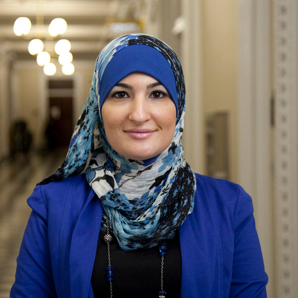 Linda Sarsour, Director of the Arab American Association of New York, a social service agency serving the Arab community in NYC.