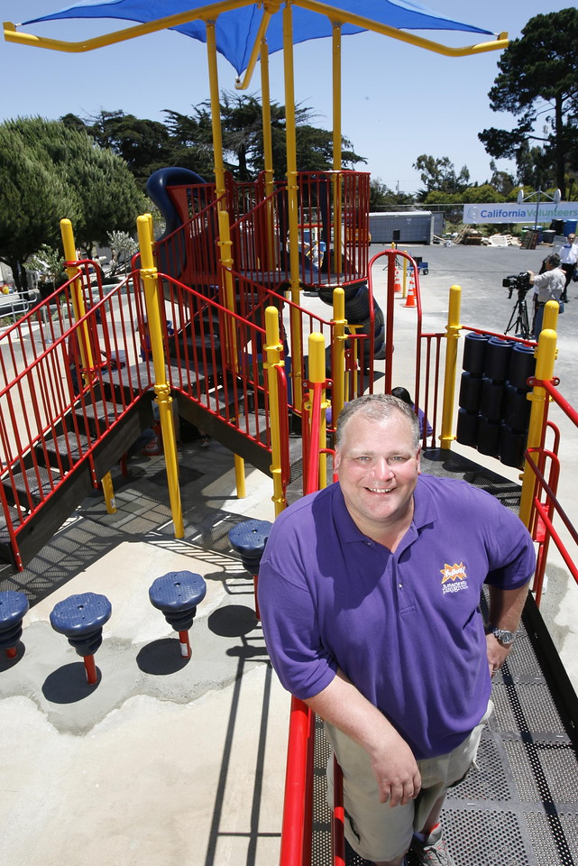 Darell Hammond, founder and CEO of KaBOOM! on a KaBOOM!-built playground. (photo courtesy KaBOOM!)