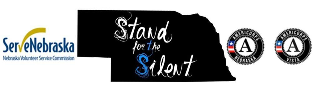 Serve Nebraska, AmeriCorps Nebraska, AmeriCorps VISTA, and Stand for the Silent logos.