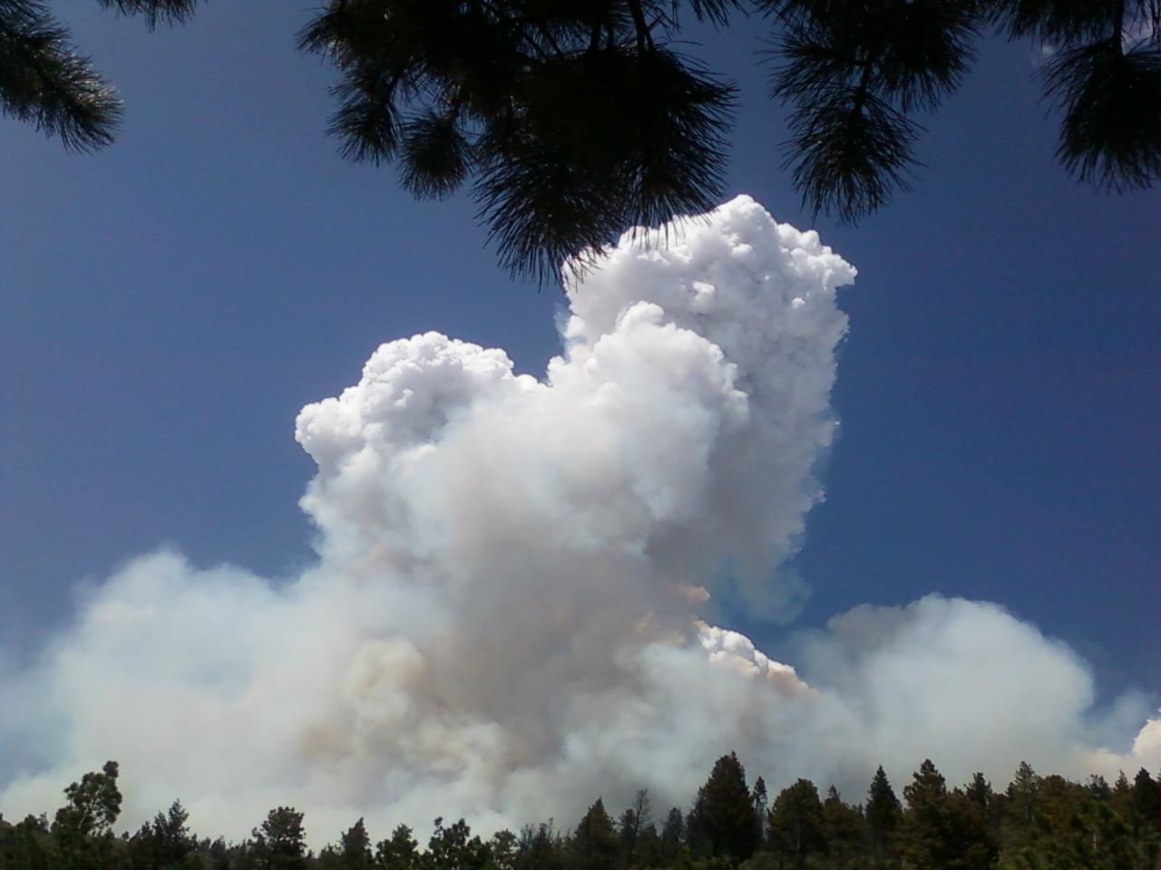 Smoke column of the Waldo Canyon Fire near Colorado Springs, Colo. captured by an AmeriCorps NCCC member serving on a wildland fire fighter crew. (CNCS photo, courtesy Stephen Packard)