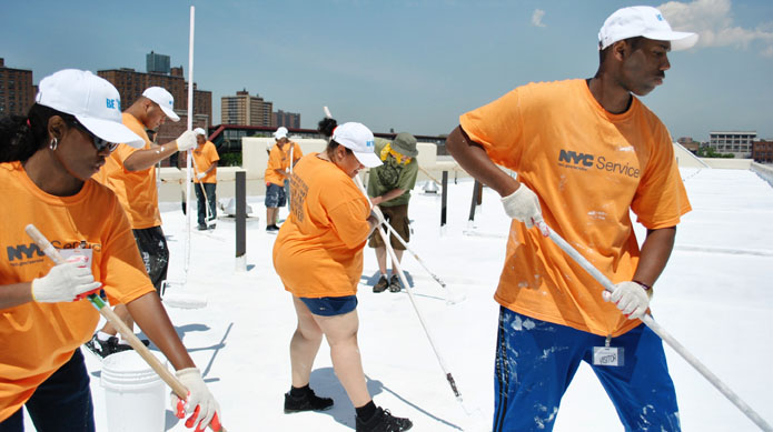 AmeriCorps members with Green City Force in New York City participate in the NYC Cool Roofs campaign. (Photo courtesy Green City Force)