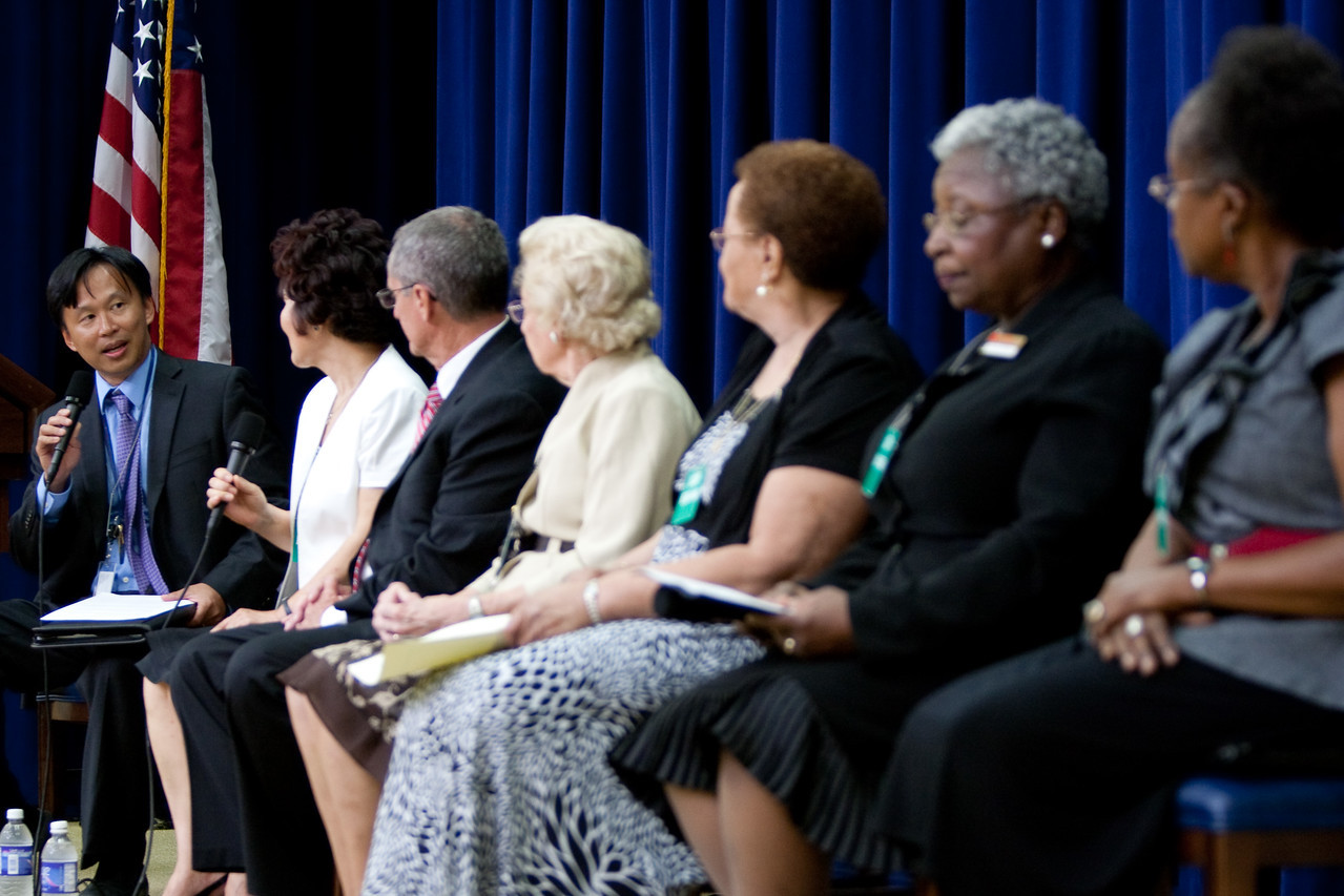 Dr. Erwin Tan, Director of Senior Corps at the Corporation for National and Community Service, leads a panel of senior volunteers at a U.S. Administration on Aging event on July 13, 2011.
