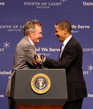 President George H.W. Bush and President Barack Obama.