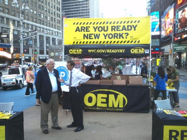 New York, NY, September 1, 2011 -- Administrator Craig Fugate (left) speaks with New York City Office of Emergency Management Commissioner, Joseph Bruno, at an event in Times Square to kick off the start of National Preparedness Month.