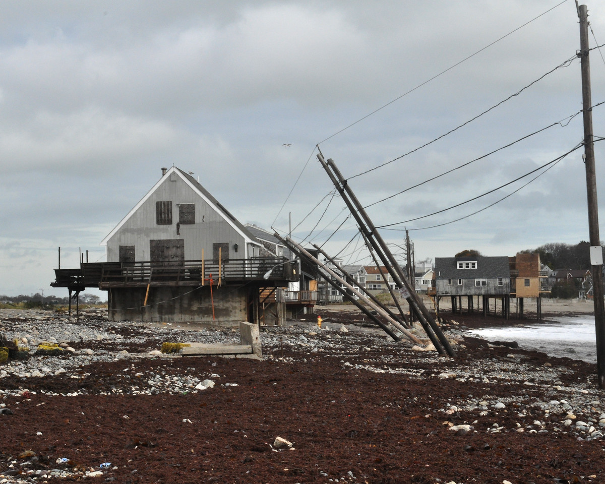 The few summer homes left standing in Scituate, MA, after the Pefect Storm in 1991 have survived Hurricane Sandy in this October 31, 2012 photo.  Following the 1991 storm, these homes were elevated to meet FEMA standards. (Photo by Marilee Caliendo/FEMA)