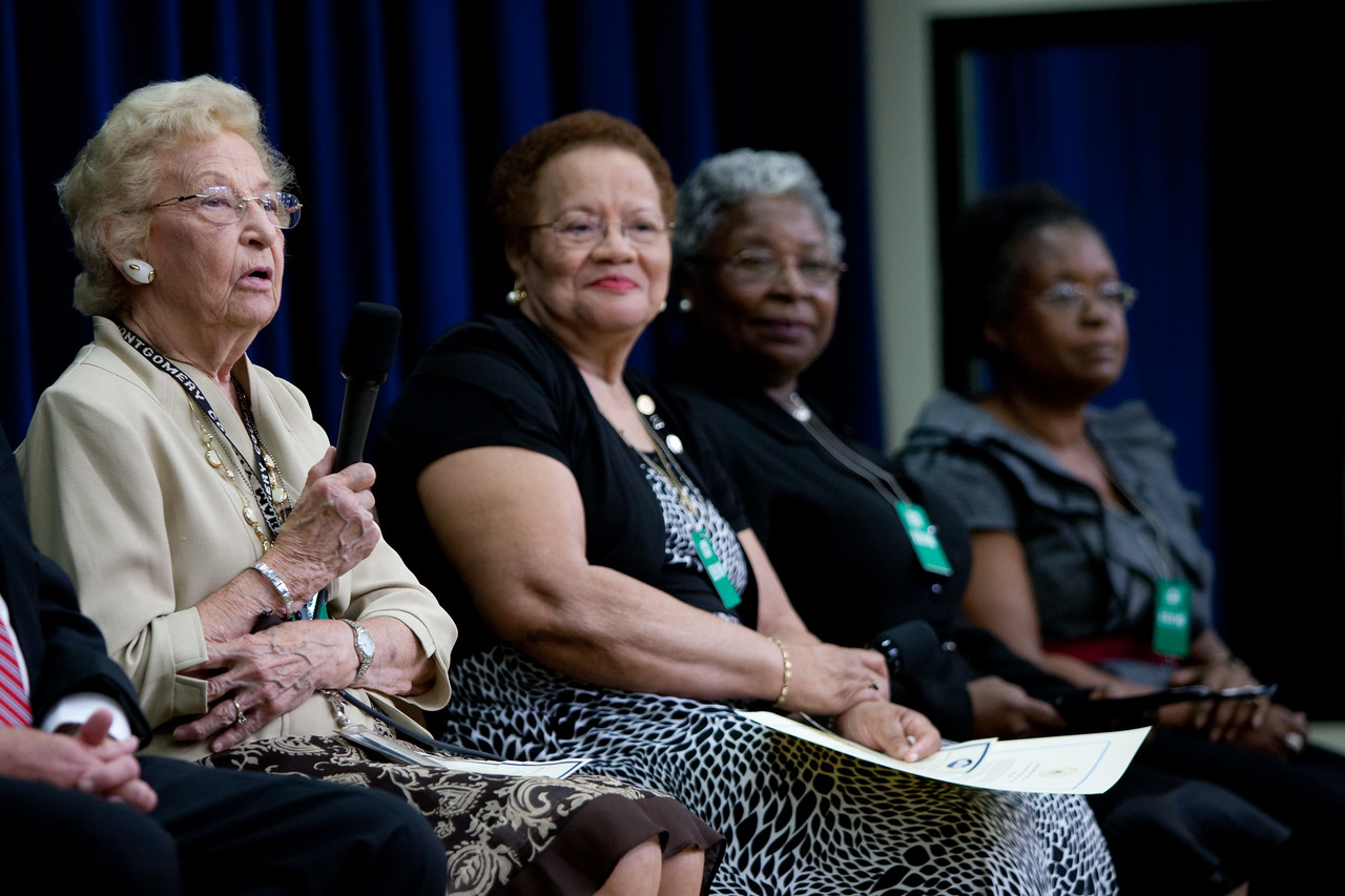 Pearl Arlene Hunt of Silver Spring, MD, a retired nurse who volunteers with the Montgomery County Long Term Care Ombudsman, speaks on a panel at the U.S. Administration on Aging event on July 13, 2011.