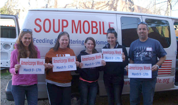 First Baptist Church of Sachse stops by to help celebrate AmeriCorps Week at the SoupMobile Open House in Dallas, TX. (Photo by SoupMobile)