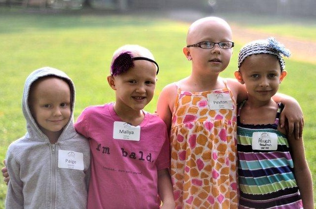 Girls from the Children's Alopecia Project meet at an event for children with the disease.