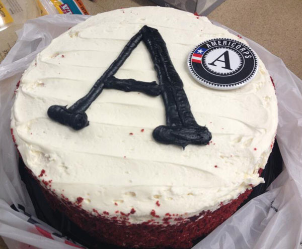 The Cocorino Rural Environmental Corps in Flagstaff enjoyed an AmeriCake during its AmeriCorps Week potluck.