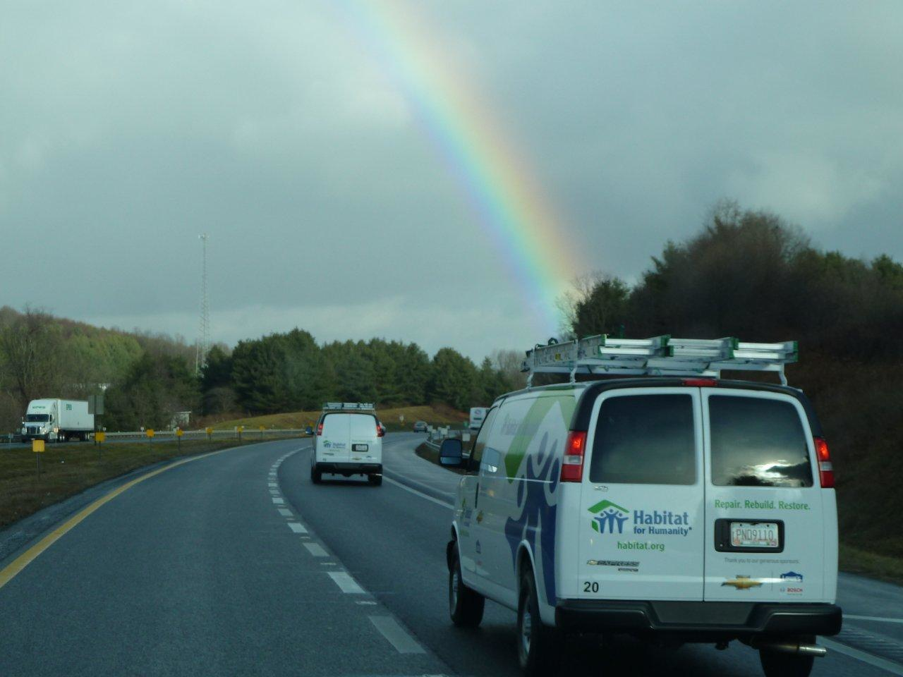 The Habitat for Humanity caravan to assist Hurricane Sandy encounters a rainbow en route to help homeowners with repairs in New York and New Jersey. (Photo by Patricia Decker)