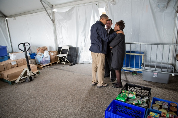 President Barack Obama meets privately with Damien and Glenda Moore at a FEMA Disaster Recovery Center tent in Staten Island, NY, Nov. 15, 2012. The Moore's two small children, Brandon and Connor, died after being swept away during Hurricane Sandy. (Official White House Photo by Pete Souza)