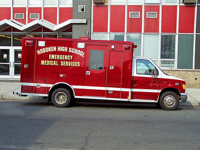 One of two ambulances part of Hoboken High School's Emergency Response Team.