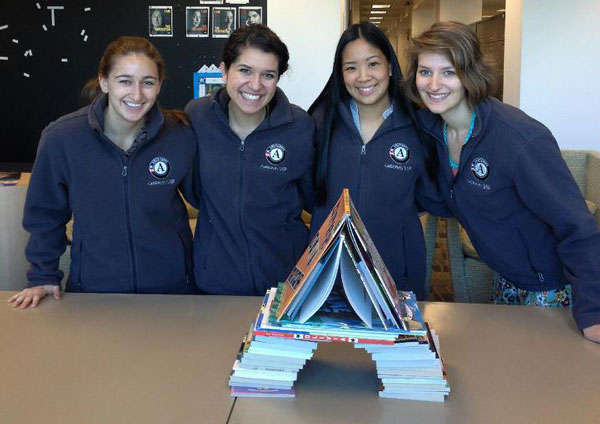 KOREH L.A., the Jewish Federation's literacy program, hits the books to show us their A during AmeriCorps Week. (Photo by KOREH L.A.)