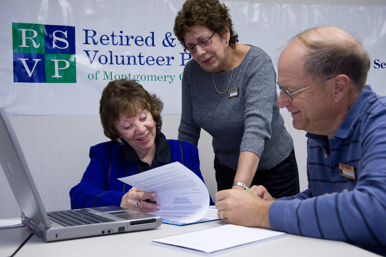 RSVP Volunteer Executive Counselors Alan Kober and Marion Silver share their business expertise with Elaine Gershenson at the RSVP Headquarters in Blue Bell, PA.