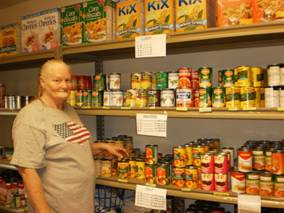 RSVP Volunteer Nancy Ryan at the Great LOVE Food Pantry in Boone County, Iowa.