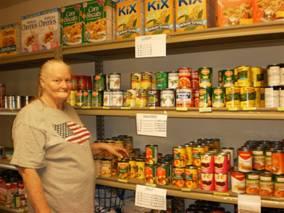 RSVP Volunteer Nancy Ryan at the Great LOVE Food Pantry in Boone County, Iowa.