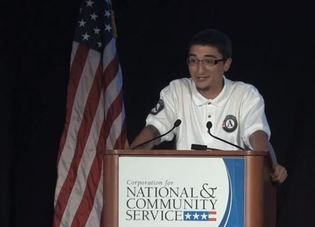 AmeriCorps member Chris Guzman delivers a speech to the National Conference on Volunteering and Service in Washington, DC, on June 20, 2013.