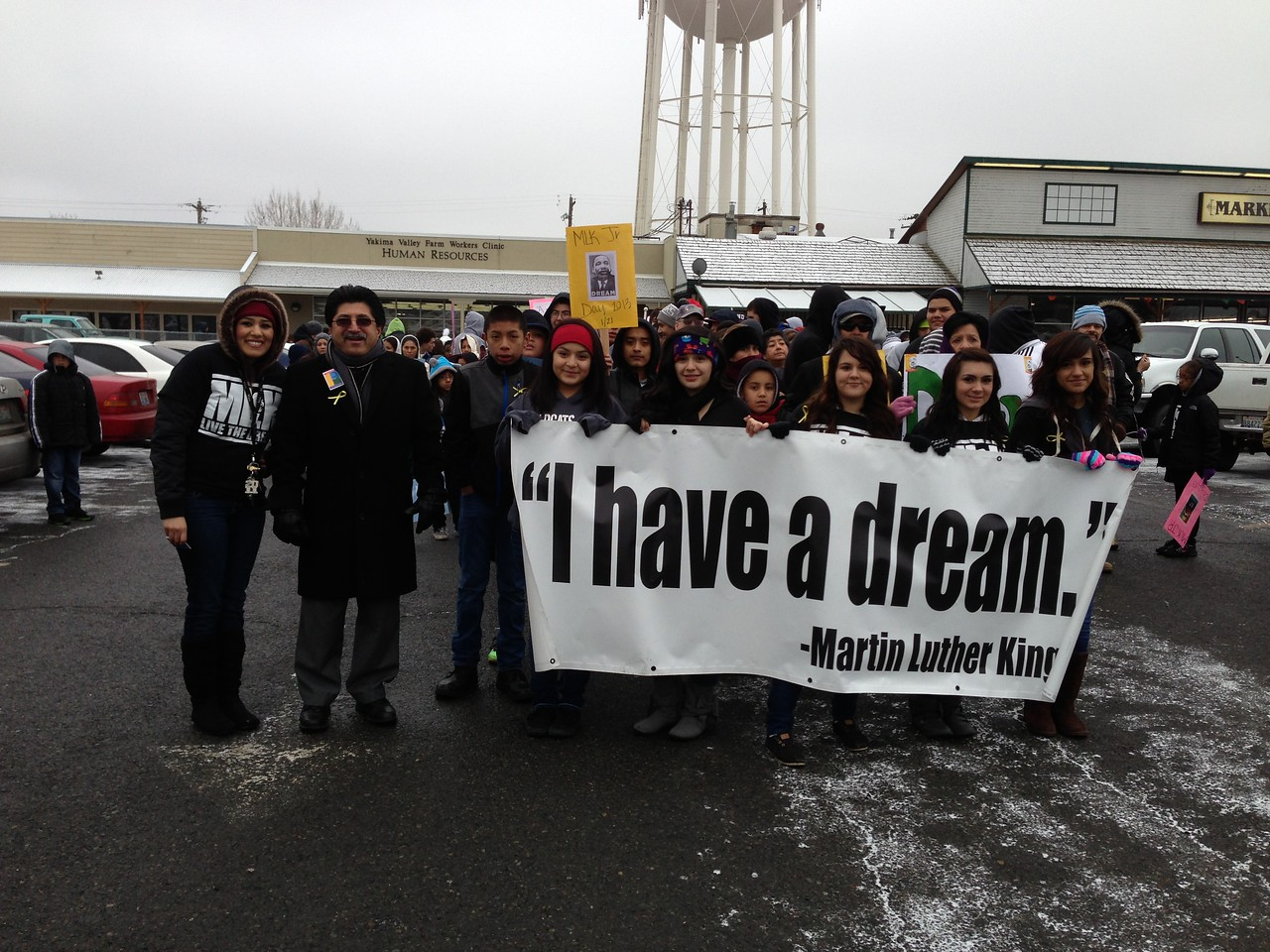 Groups prepare to march in a parade during Martin Luther King Day in Toppenish, WA.
