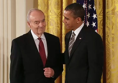 President Barack Obama greets Sen. Harris Wofford as he presents him with the Presidential Citizens Medal at a White House ceremony on Feb. 15, 2013.
