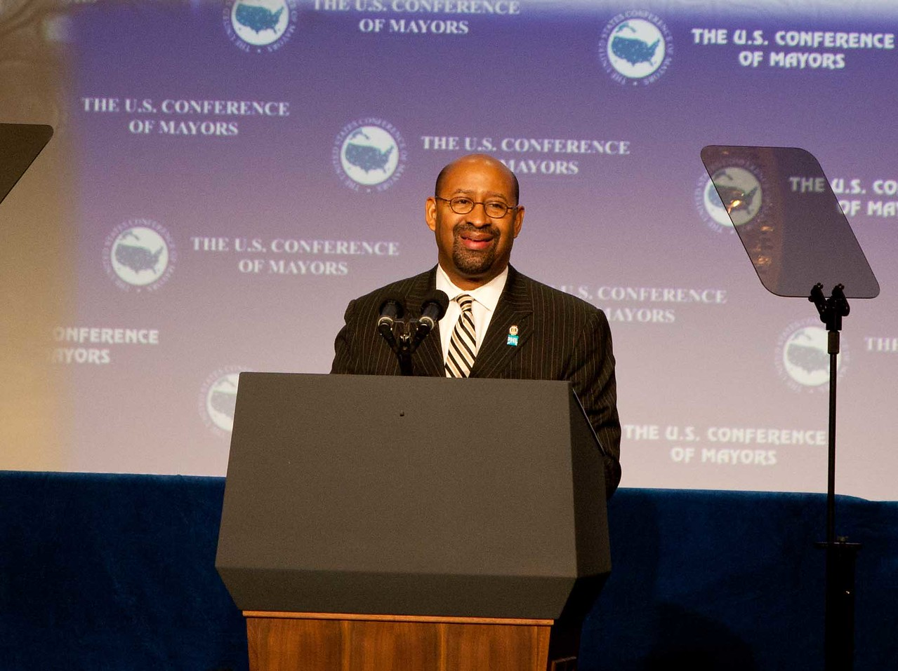 U.S. Conference of Mayors President and Philadelphia Mayor Michael Nutter announces the Mayors Day of Recognition for National Service in Washington, DC, on Jan. 17, 2013.