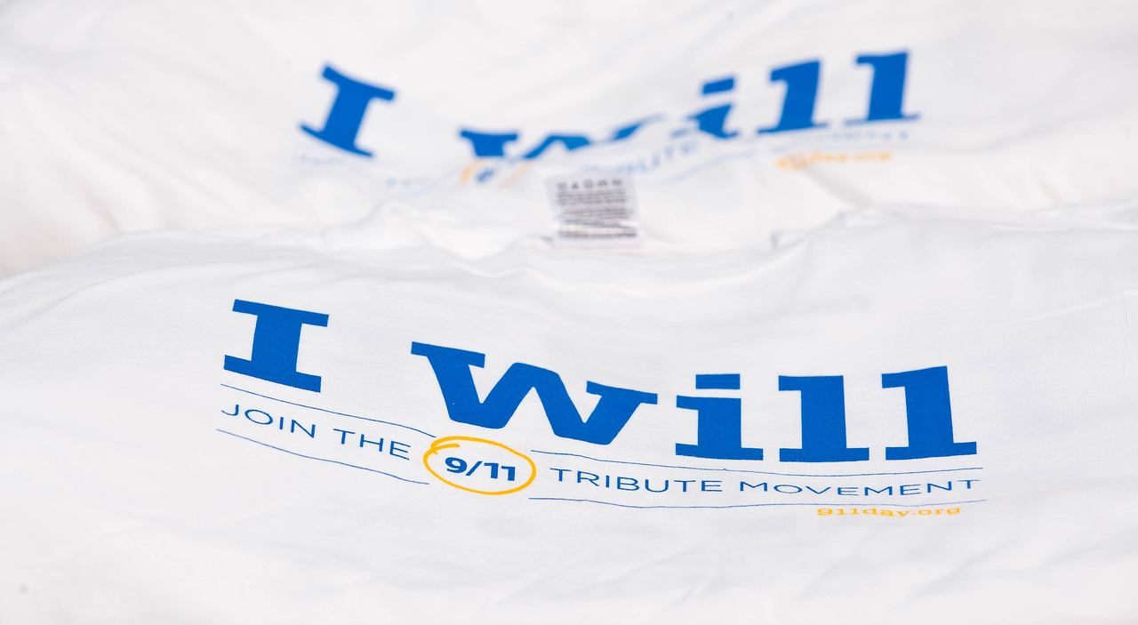 T-shirts with the I Will logo for the 9/11 Day of Service await volunteers at the 2011 event. Corporation for National and Community Service Photo.