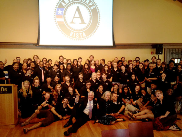 AmeriCorps VISTA Director Mary Strasser and VISTA members at the Boston PSO in August 2012.