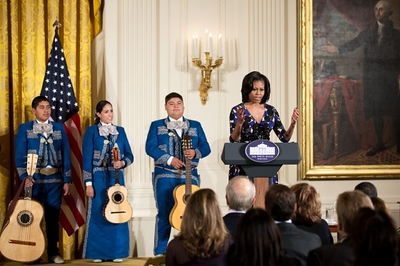First Lady Michelle Obama, the honorary chair of the President's Committee on the Arts and the Humanities, hosts the PCAH National Arts and Humanities Youth Program Awards in the East Room of the White House, Nov. 19, 2012.  (Official White House Photo by Chuck Kennedy)